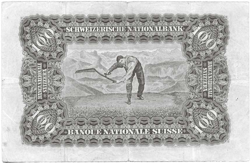 Billet de banque, 500 Francs suisses, Banque nationale suisse, en circulation du 01/01/1910 au 01/10/1956. Conception: Ferdinand Hodler